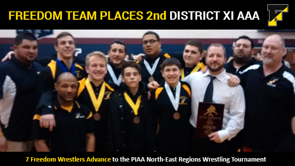 Freedom Wrestling Team Places 2nd at PIAA District XI Tournament