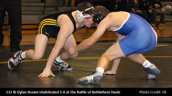 Senior Dylan Brown 5-0 at Battle of Bethlehem Dual