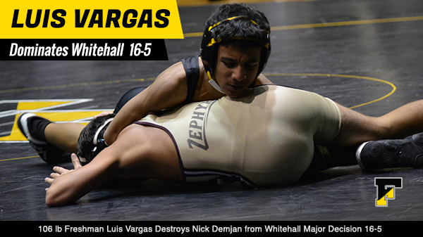 Featured Wrestler: Freshman 106 lb Luis Vargas Impressive